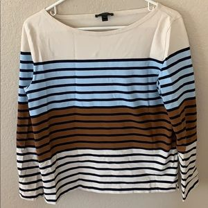 J crew Breton stripe top in cream blue and caramel